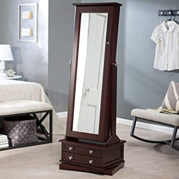 Amazoncom Belham Living Swivel Cheval Jewelry Armoire Cherry Home