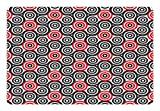 Ambesonne Geometric Circle Pet Mat for Food and Water, Interlace Spiral Labyrinth Blind Oval Linked Mosaic Artistic Image Print, Rectangle Non-Slip Rubber Mat for Dogs and Cats, Red Black