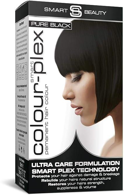 Smart Beauty Tinte de Pelo Permanente, Larga Duración Moda Color con Nutritivo Nio-Active Plex Tratamiento Capilar, 150ML - Negro, 150 Milliliters