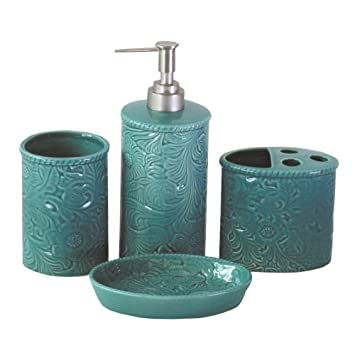 Turquoise and grey bathroom accessories home design plan for Turquoise and grey bathroom accessories