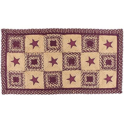 IHF Home Decor New Area Braided Rug Country Star Wine Design Carpet Accent Rectangle Rugs 100% Jute Fiber