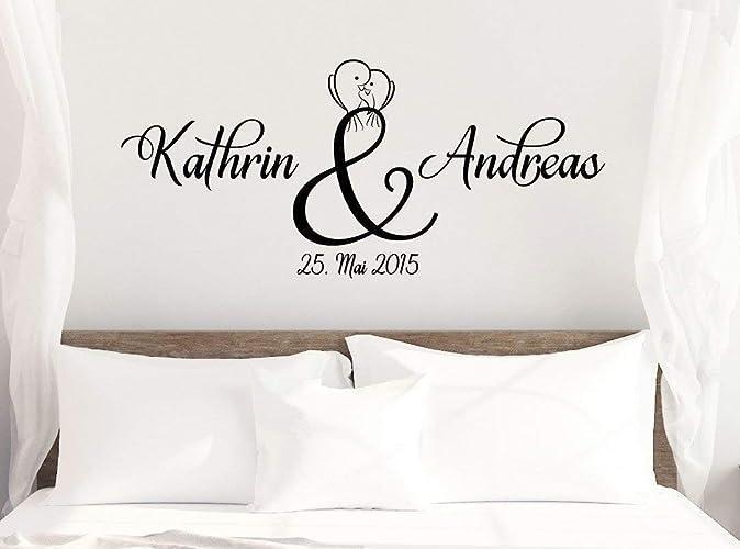 *NEU* Wandaufkleber/Wandtattoo/Wandsticker Schlafzimmer ***Namen +  Hochzeitsdatum*** (Größen.- und Farbauswahl)