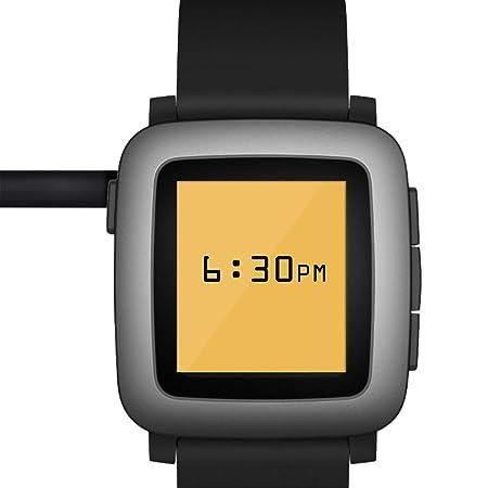 kwmobile Cable de Carga para Pebble 2 / Time/Steel/Round - Conector USB Negro para Fitness Tracker y smartwatch