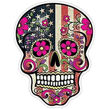 Osmdecals grunge american flag detailed sugar skull sticker series 7 mexican day of the dead calavera waterproof car decal bumper sticker