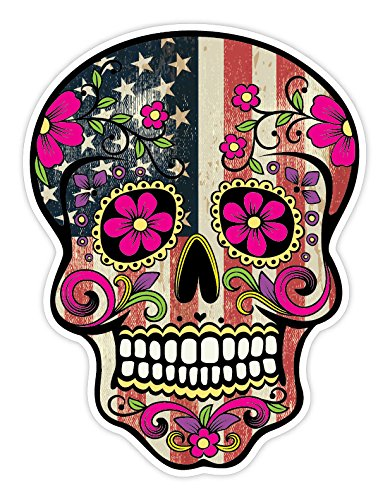 OSMdecals - Grunge American Flag Detailed Sugar Skull Sticker Series 7 - Mexican Day of the Dead Calavera Waterproof Car Decal Bumper Sticker