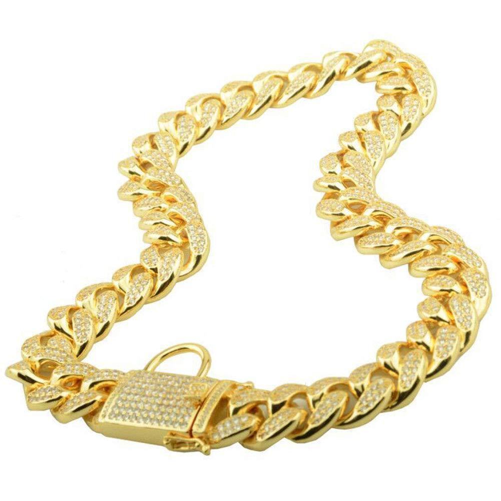 MUJING 18 mm Wide Hip Hop Gold Tone Cut Curb Cuban Link Inlaid Rhinestone 316L Stainless Steel Dog Choke Chain Collar 40-76CM,A,XXL