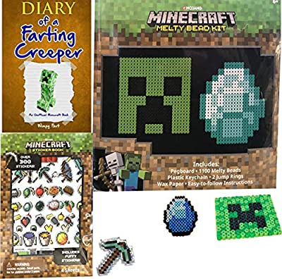 Craft Minecraft Mini Character Melty Beads Creeper & Diary of a Farting Creeper + Puffy Sheet Sticker Book Sword / Pickaxe / Arrow Tools & Items