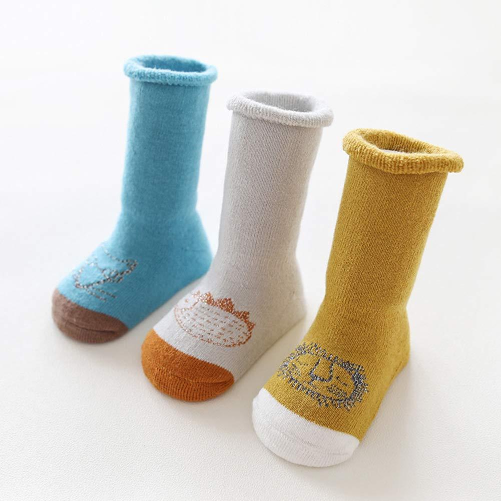 Kids Non Skid Knee High Cotton Socks for Infant Baby Boys Girls 3 Pairs Toddler Socks Animals Patterns