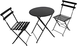 Household Premium Steel Patio Bistro Set, Folding Outdoor Patio Furniture Sets, 3 Piece Patio Set of Garden Backyard Round Table and Chairs, Rust-Proof Steel Frames Design Outdoor Patio Furniture