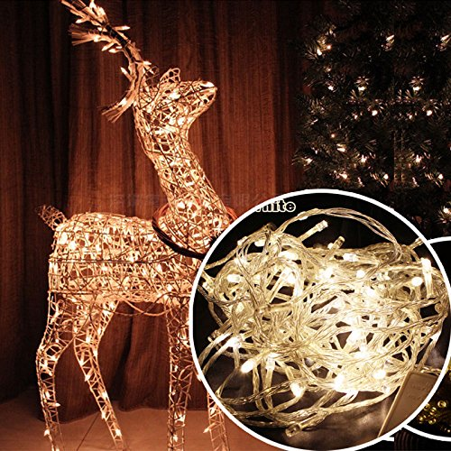 (Warm White 32ft 100 LED Fairy Light String Holiday Outdoor Lighting for Christmas Party Decoration)
