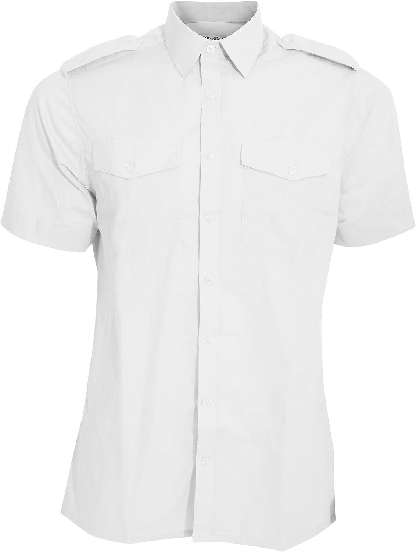 Kuston Kit - Camisa de piloto de Manga Corta Modelo Pilot Hombre Caballero