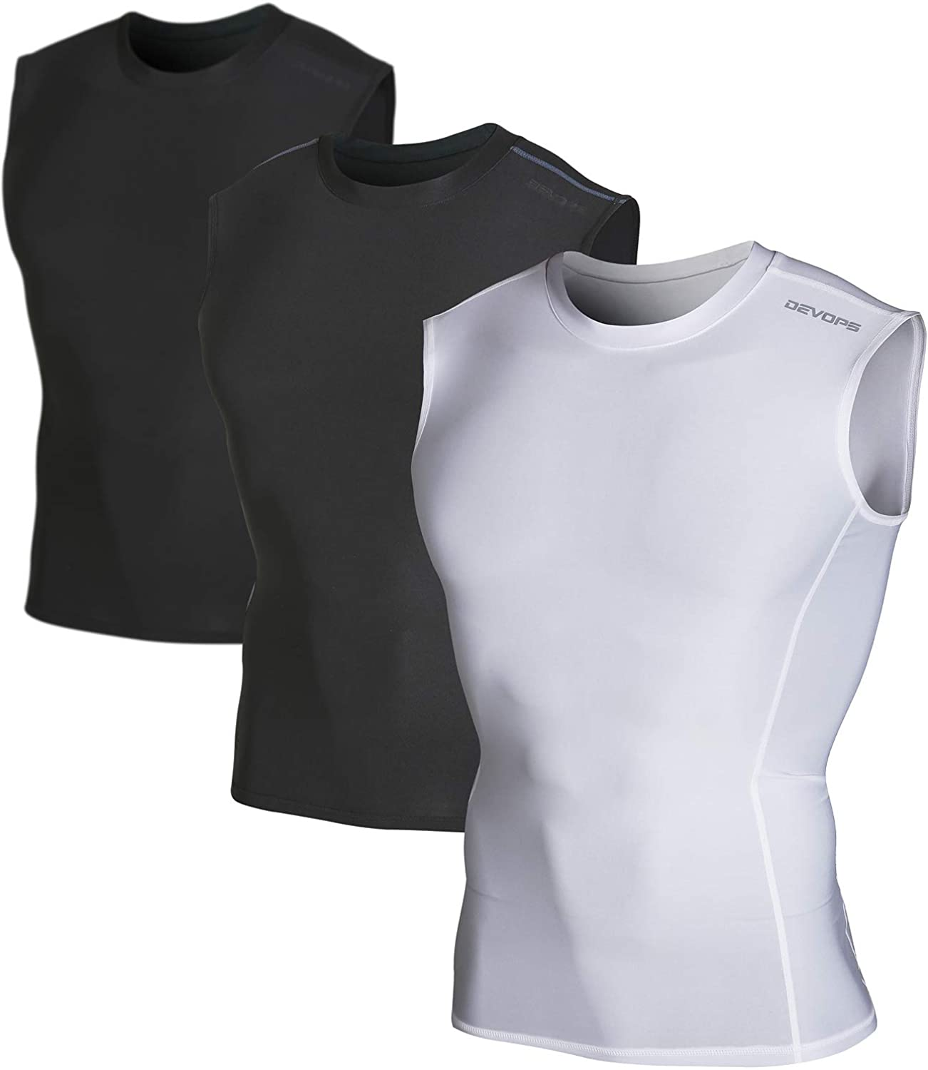 DEVOPS Men's 2~3 Pack Cool Dry Athletic Compression Baselayer Workout Sleeveless Shirts