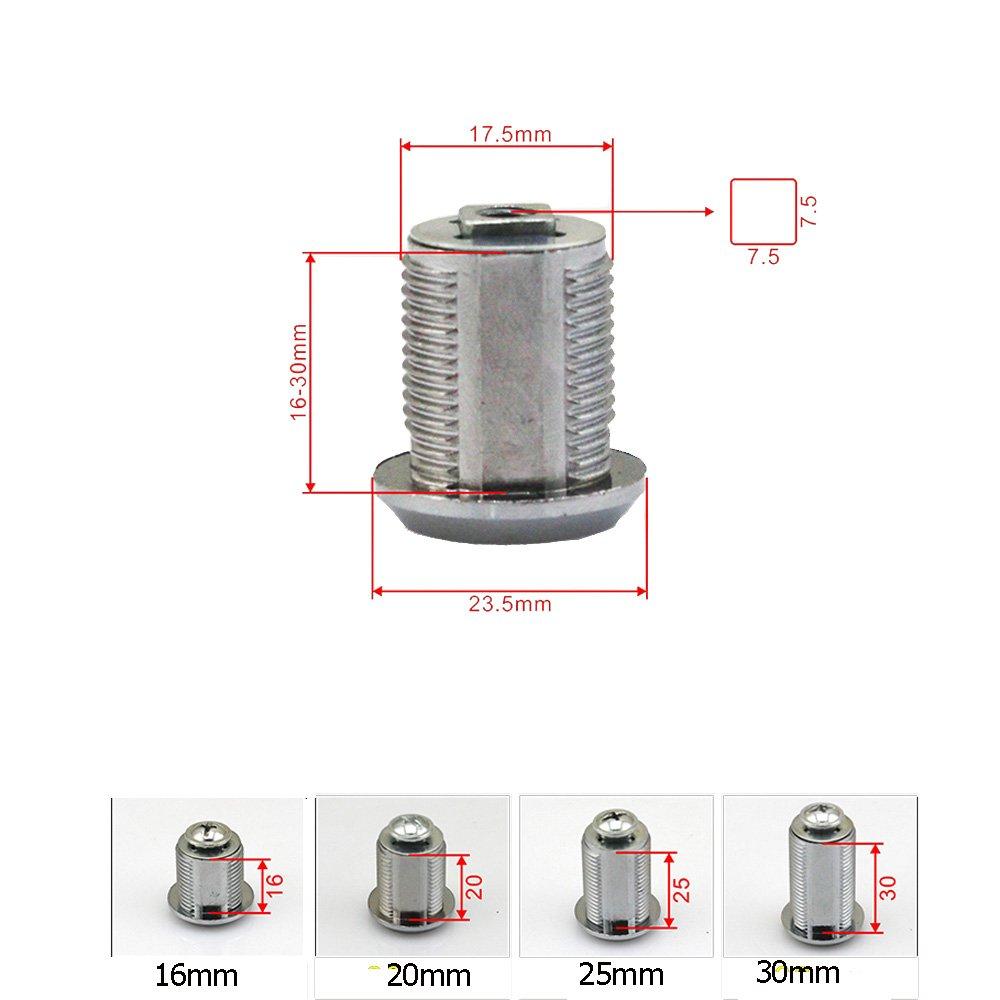 Comidox 5pcs 16//20//25//30mm Cam Lock Pinball Arcade Machine Door Cabinet Toolbox Drawer /& 2Key 25mm