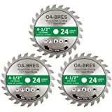3 Pack 4-1/2-Inch 24T TCT Carbide Tipped Teeth Compact Circular Saw Blade with 3/8-Inch Arbor, General Purpose for Long-Lasti