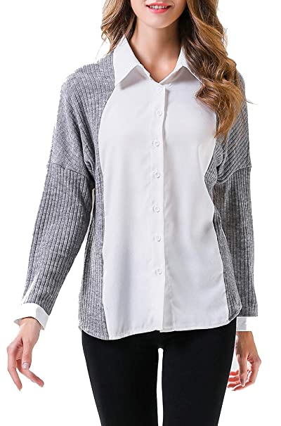 BLACKMYTH Mujer Casual Color Block Manga Larga Blusa Tejer Patchwork Camisa Tops Gris Small