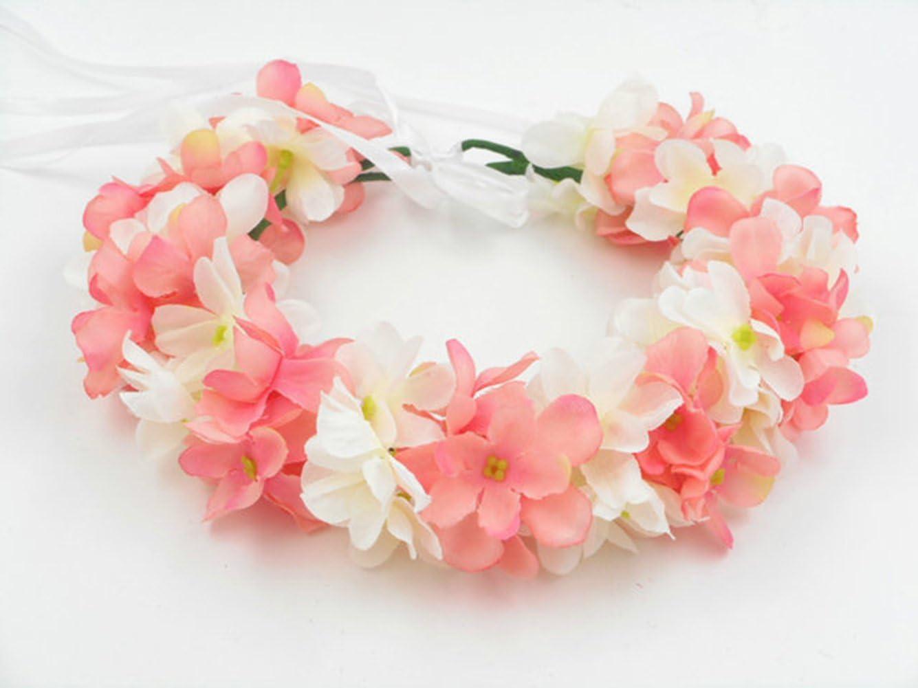 Head Garland Pink White//Ivory Party Wedding Flower Wreath Crown Flowergirl