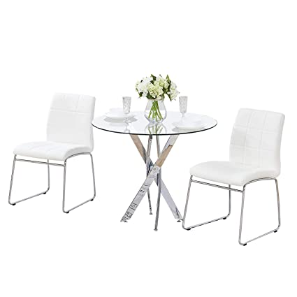SICOTAS 3 Pcs Round Dining Table Set,Tempered Glass Kitchen Table and 2  Faux Leather Chairs with Chrome Legs, Modern Dining Room Table Set for  Kitchen ...