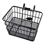 Ohuhu® Rust-Proof Quick Release Front Handlebar Bicycle Lift Off Basket / Wire Mesh Bike Basket with Holder, Mesh Bottom, Black