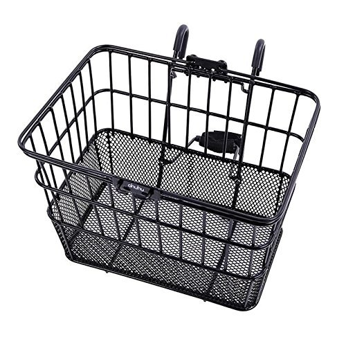 Front Bike Basket - Ohuhu Rust-Proof Quick Release Front Handlebar Bicycle Lift Off Basket / Wire Mesh Bike Basket with Holder, Mesh Bottom