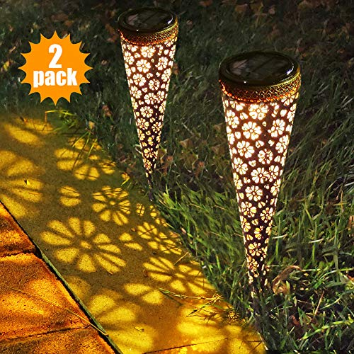 LUNSY Solar Lights Outdoor Pathway Garden Stake Lights, Auto On/Off Waterproof LED Decorative Landscape Lighting Driveway Security Light for Yard Garden Patio Lawn Backyard, 2 Pack