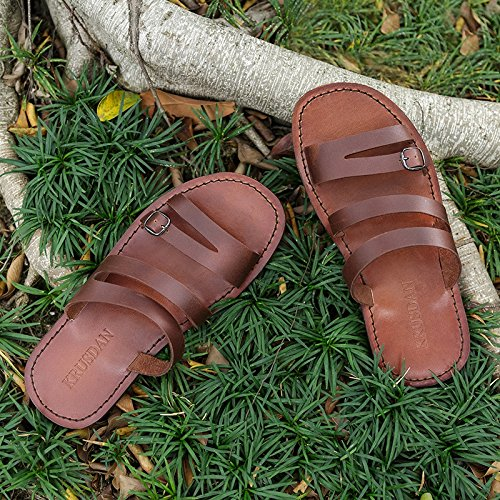Flip Brown Fashion Casual Beach Sandals Beach Flops Slippers Water Ruiyue Summer Shoes Breathable Cowhide Leather Slides Men 1xCSawnqX