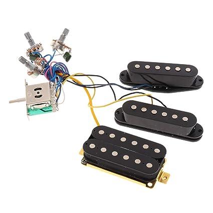 amazon com: b blesiya guitar wiring harness kit prewired sss pickup  humbucker 3 way toggle switch&knobs pots for st electric guitar parts -  black,