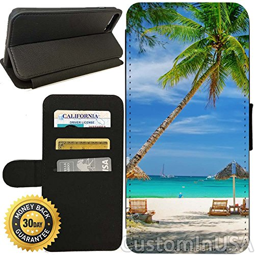 Flip Wallet Case for iPhone 8 Plus (Tropical Beach Resort Palm Tree Sand) with Adjustable Stand and 3 Card Holders | Shock Protection | Lightweight | Includes Free Stylus Pen by Innosub