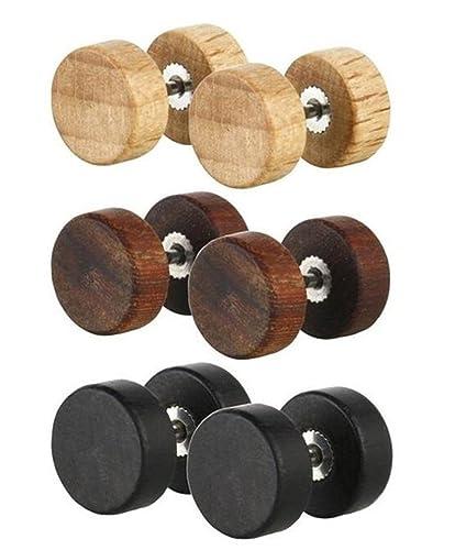 Fashion 8mm Wood Cheater Fake Ear Plugs Gauges Illusion Screw Stud Earrings 3pairs fFRk0Wrif