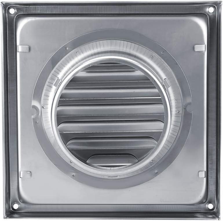 Air Vent Duct Grill, Salida de Ventilador de Extractor de Secadora de Tambor Cuadrado de Acero Inoxidable Elegante y Duradero de 100 mm para respiraderos de baño, extractores, Tubos de ventilación de