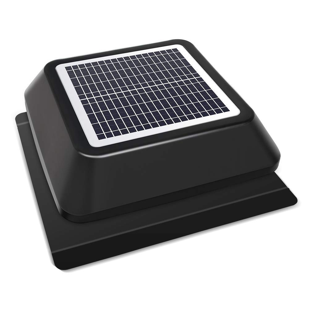 HQST Solar Powered Attic Fan with Adjustable Solar Panel, IP68 Brushless DC Motor, Easy Install, Roof Mount