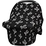 Baby Car Seat Cover, Nursing Covers Soft Breathable Stretchy Breastfeeding Scarf Shawl, Infant Carseat Canopy Lightweight Cotton Muslin for Stroller, High Chair, Shopping Cart, Shower Gift - Black