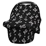 Nursing Cover Baby Car Seat Canopy-Lightweight Stretchy Breastfeeding Scarf,Shopping Cart, Stroller, Floral Cotton Infant Carseat Covers by Metplus (Cactus)