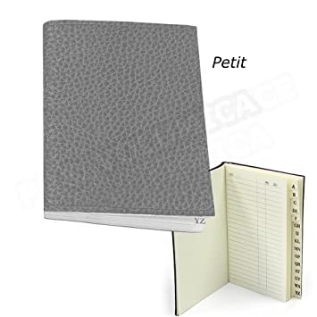 Mini agenda de direcciones 7,5 x 5,5 piel gris Beaubourg ...
