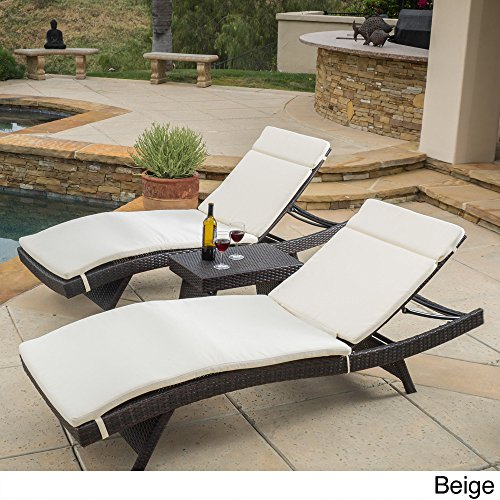 Christopher Knight Home Luana Outdoor 3-piece Wicker Adjustable Chaise Lounge Set with Cushions Beige by Christopher Knight Home
