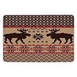 Bathroom Bath Rug Kitchen Floor Mat Carpet,Cabin Decor,Knitted Swatch with Deers and Snowflakes Classic Country Plaid Digital Print Decorative,Brown Tan Red,Flannel Microfiber Non-slip Soft Absorbent