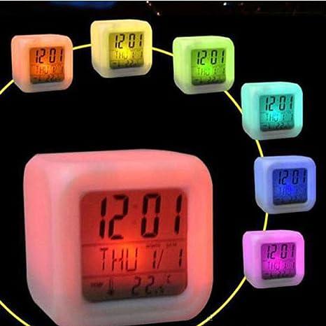 LtrottedJ Reloj digital con alarma y termómetro, diseño de cubo brillante, 7 colores
