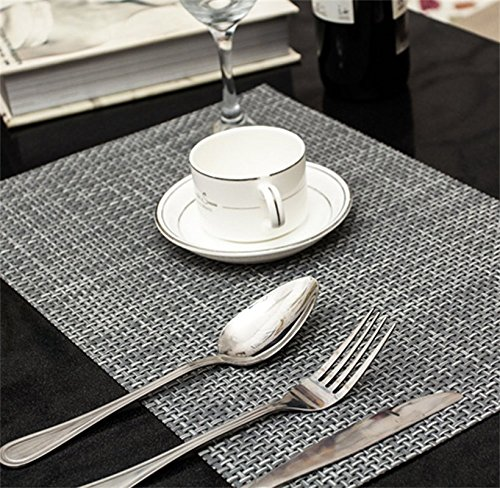 YunNasi European Placemats PVC Heat Insulation Stain-resistant Woven for Dining Table Outdoor Set of 4 Grey