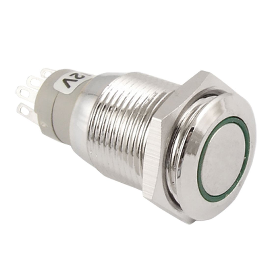 uxcell DC 12V Green LED 16mm Stainless Steel Momentary Pushbutton ...