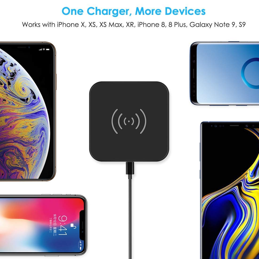 CHOETECH Wireless Charger, Qi Certified Wireless Charging Pad Compatible with iPhone Xs Max/XS/XR/X/8/8 Plus, Samsung Galaxy S10/S10+/S10E/Note 9/S9/S9+/Note 8/S8/S7, New AirPods and More by CHOETECH (Image #3)