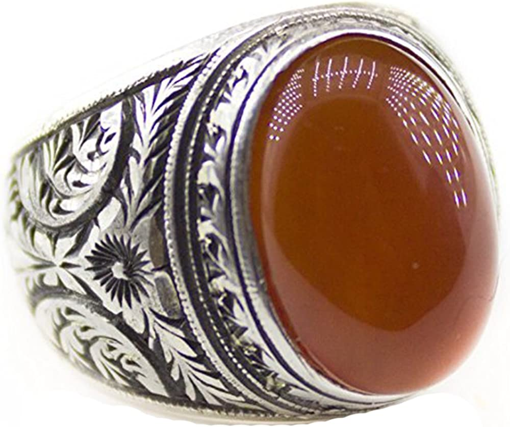 Natural Red Amber Stone Steel Pen Craft Falcon Jewelry Sterling Silver Men Ring Handmade