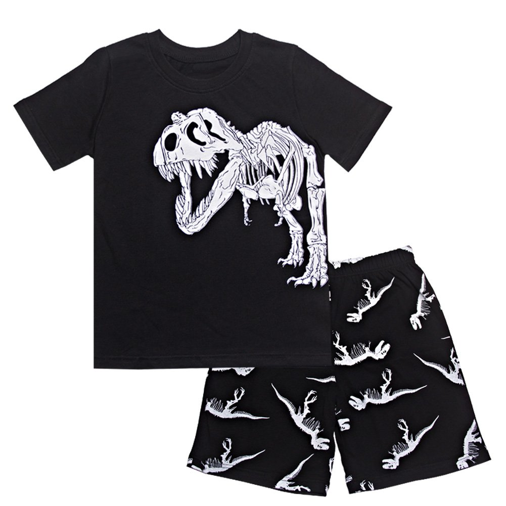 Kids Pajamas Toddler Dinosaur Pjs Cartoon Sleepwear 100% Cotton Black 5T