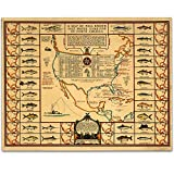 Lone Star Art 1935 Salt Water Game Fish of North America Map - 11x14 Unframed Print - Great Vintage Decor
