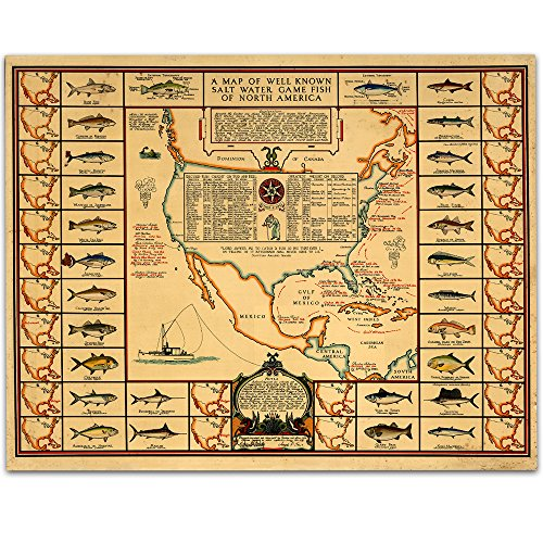 (Lone Star Art 1935 Salt Water Game Fish of North America Map - 11x14 Unframed Print - Great Vintage Decor)