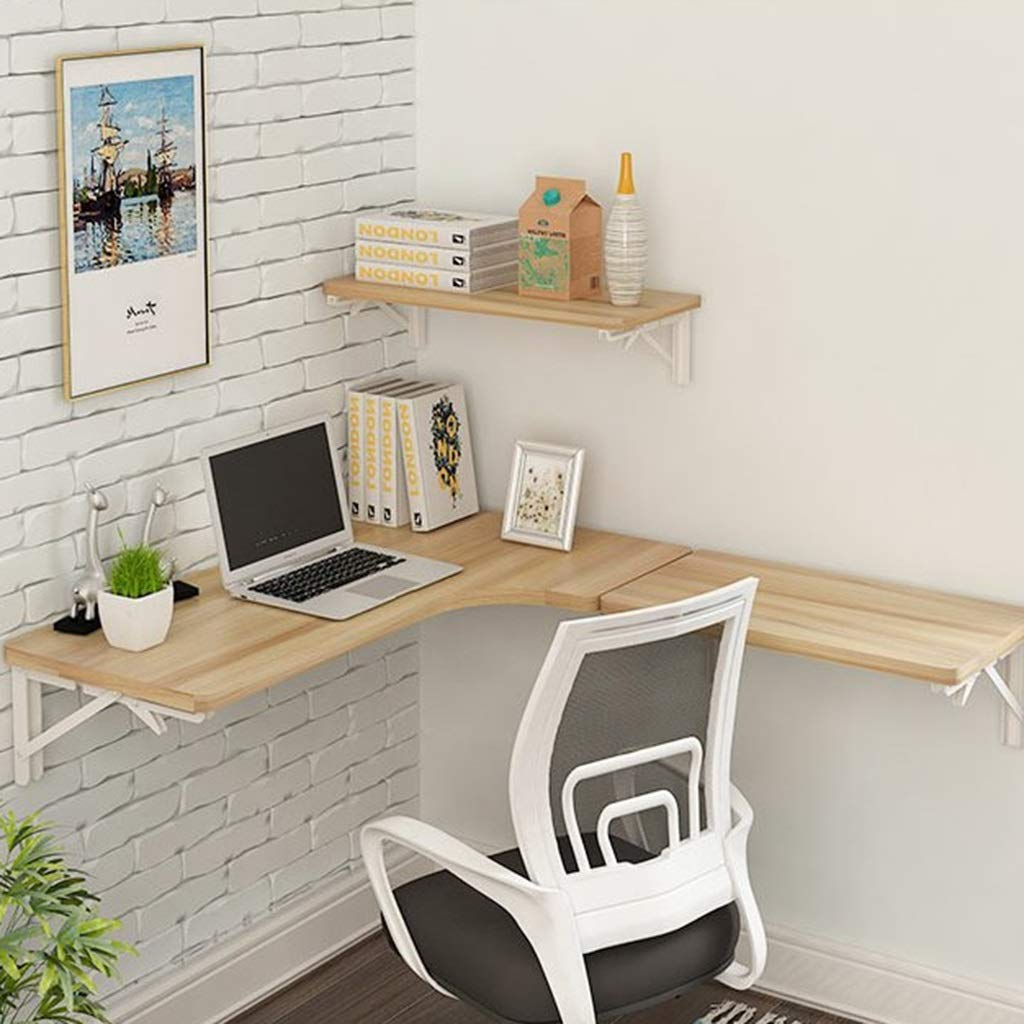 SjYsXm-Floating shelf Corner Computer Table Wall Table Folding Table L-shaped Table Wall-mounted Laptop Desk Wall Hanging Table Learning Table Size Optional (Size : 806040cm)