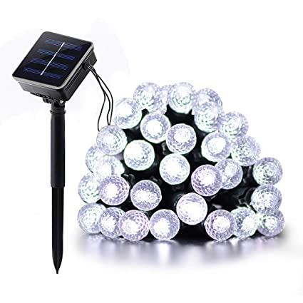 23ft 7M 50 LED Solar Plug String Lights Diamond Bubble Fairy Decor Waterproof
