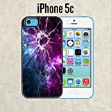 iPhone Case Cracked Screen Prank for iPhone 5c Black 2 in 1 Heavy Duty (Ships from CA) With Free .33 mm Premium Tempered Glass Screen Protector