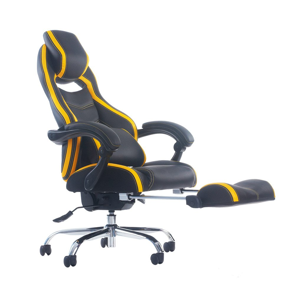Merax Racing Style Executive PU Leather Swivel Chair with Footrest and Back Support Reclining (Yellow)