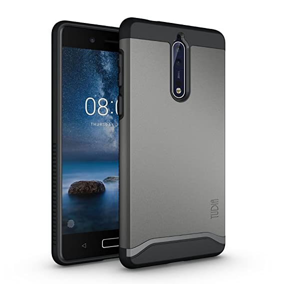wholesale dealer b291b 55704 TUDIA Nokia 8 Case, Slim-Fit Heavy Duty [Merge] Extreme Protection/Rugged  but Slim Dual Layer Case for Nokia 8 (Metallic Slate)