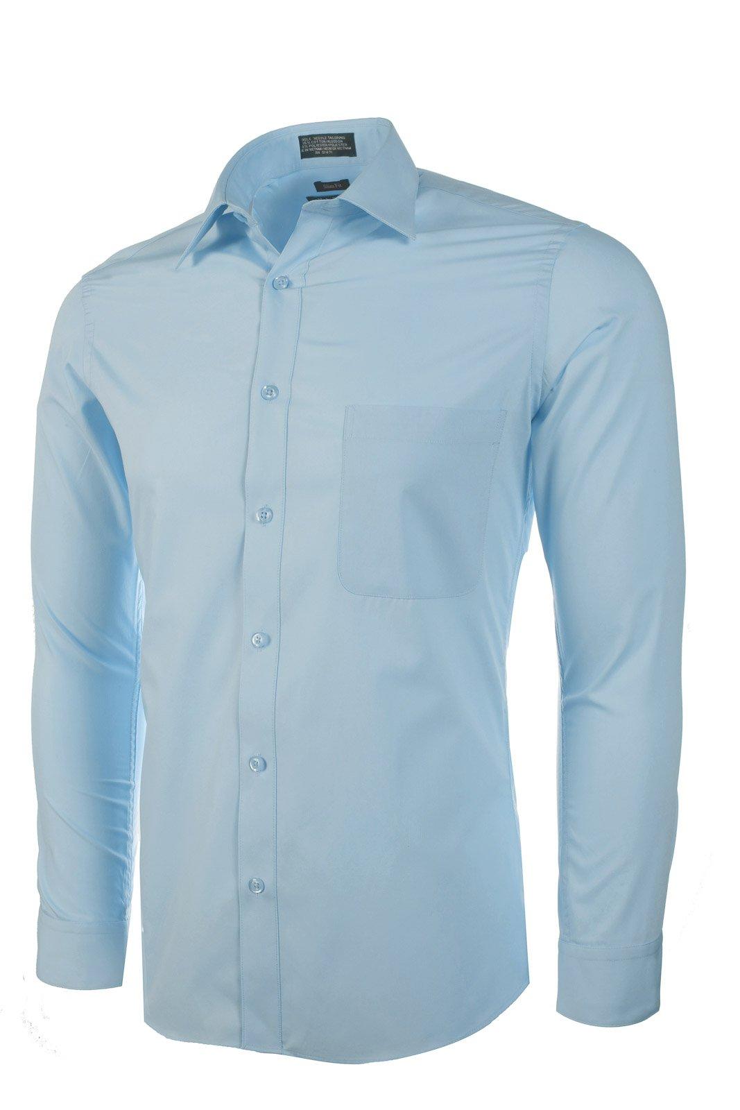Marquis Men's Slim Fit Dress Shirt - Light Blue, Medium 15-15.5 Neck 34/35 Sleeve