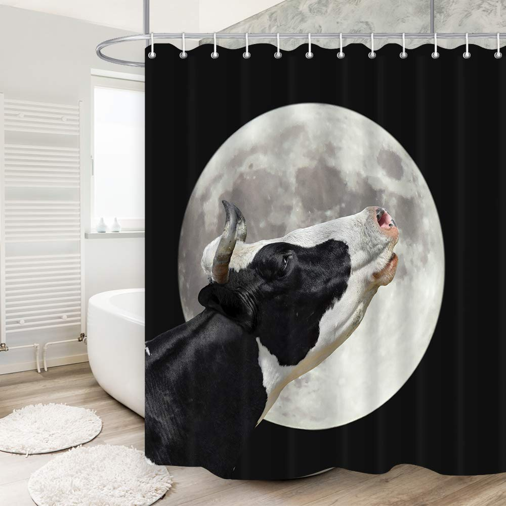 DYNH Farm Animals Shower Curtain Cow Moans At Large Bright Moon Background Mildew Resistant Waterproof Fabric Bathroom Decor Bath Curtains Accessories